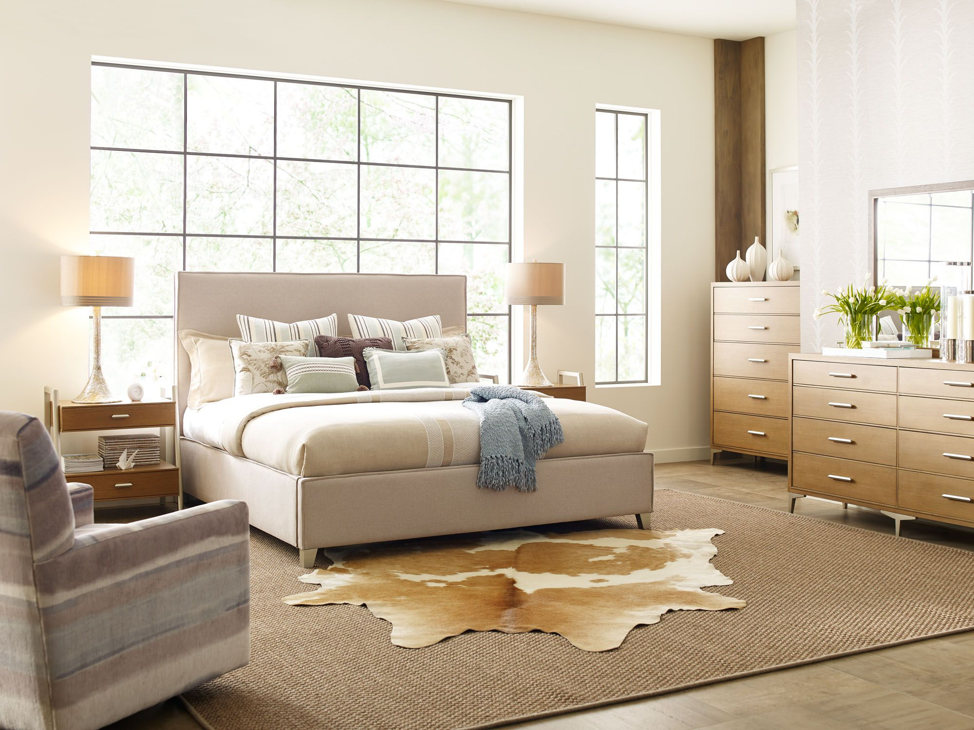 Hygge bedroom with upholstered bed from rachael ray home legacy