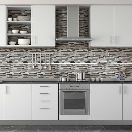 Kitchen Backsplash With Glass Tile Accents: Daltile Endeavors Mosaics Blend Well With These White