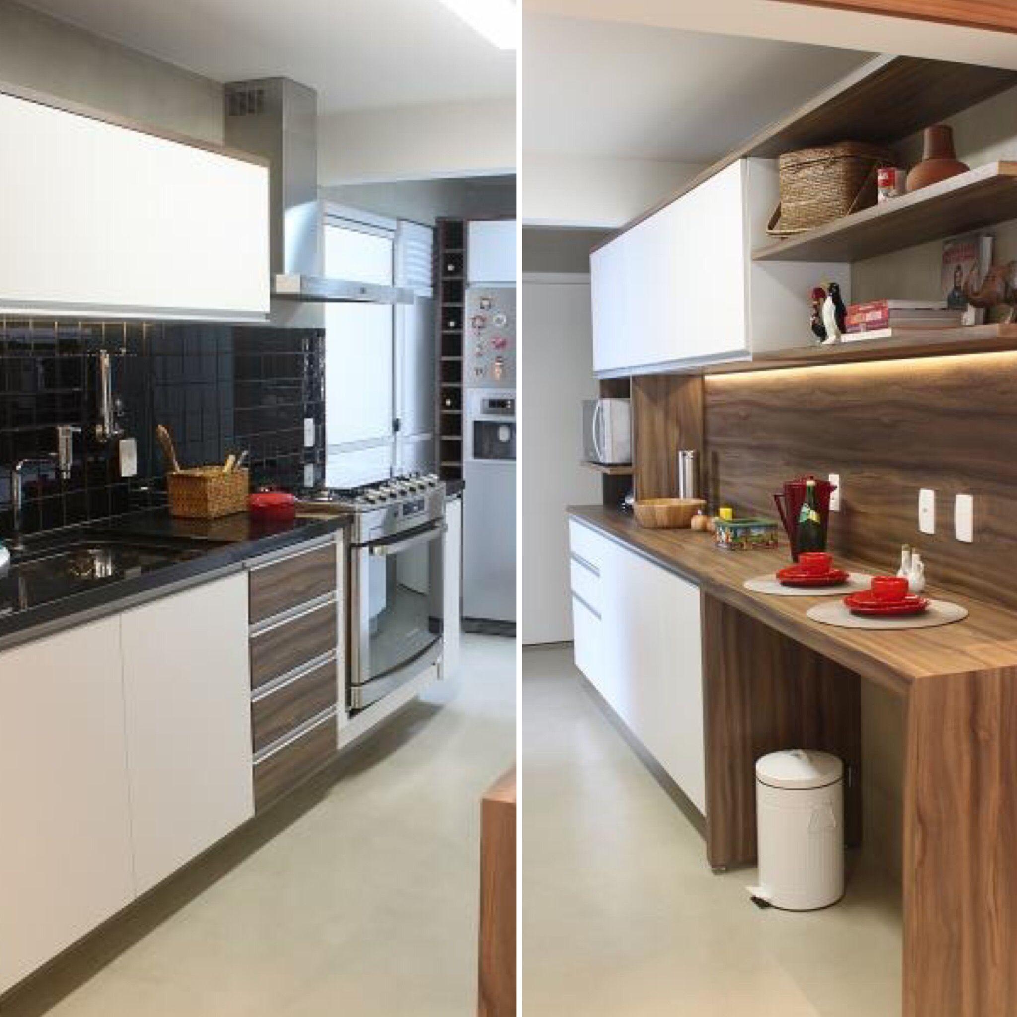 Cozinha Planejada Com Bancada Arm Rios E Ilumina O De Led  ~ Cozinha Planejada Curitiba