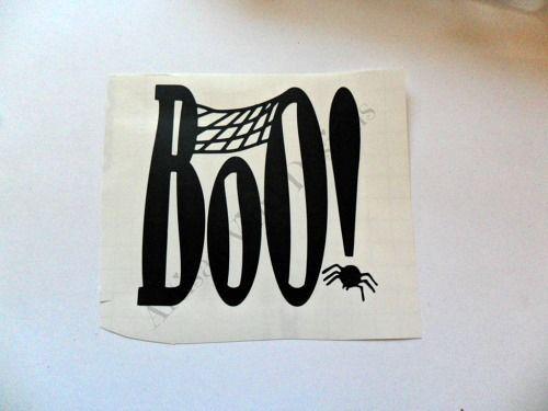 Halloween Boo Spider Web Vinyl Decal Sticker Wall Glass Block - Halloween vinyl decals for glass blocks
