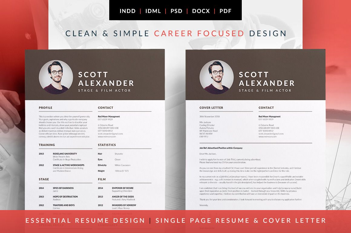 Modern Design, Versatile Layout. Easy To Customize. Available In MS Word |  Photoshop | InDesign | Scott ~ Resume Templates On Creative Market
