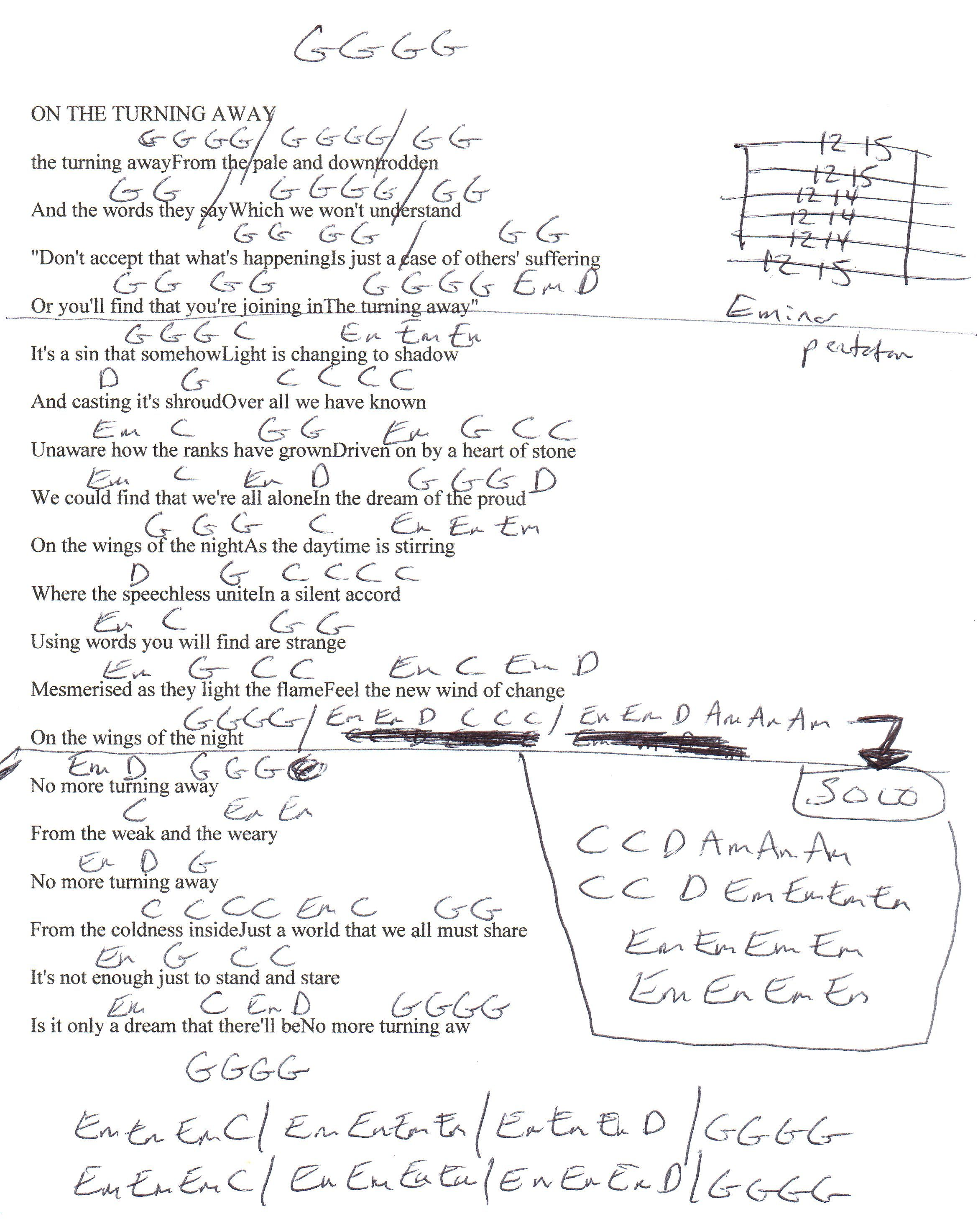 On The Turning Away Pink Floyd Guitar Chord Chart Ukulele In