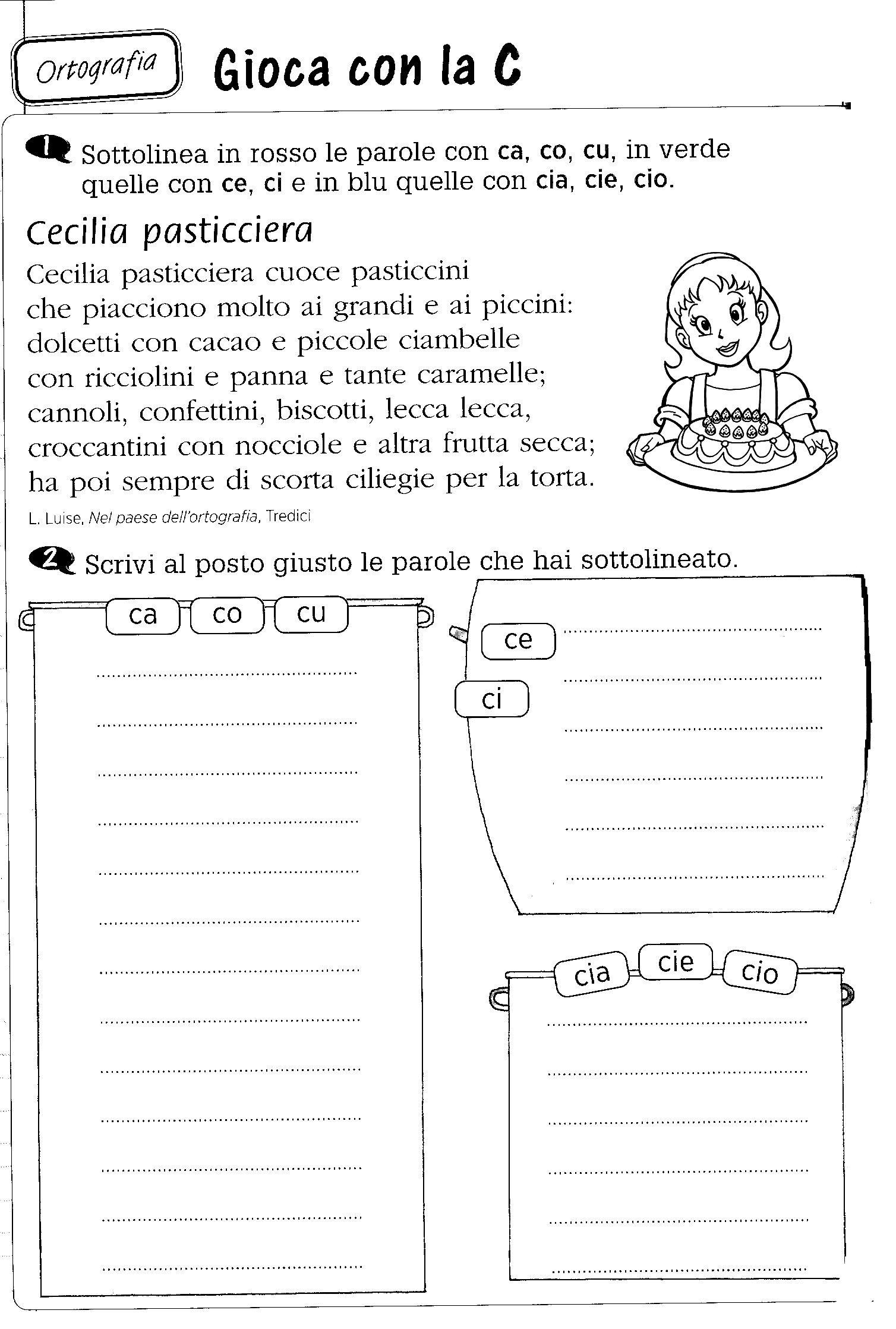 Ca Co Cu Ci Ce Cia Cio Ciu Italiano Per Bambini Learning Italian