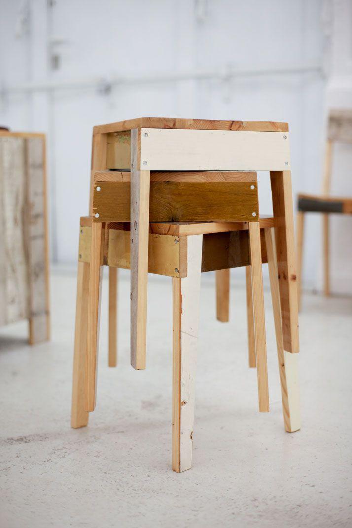 Reclaimed Wood Stools Table Et Chaises Wall Deco Mobilier De Salon