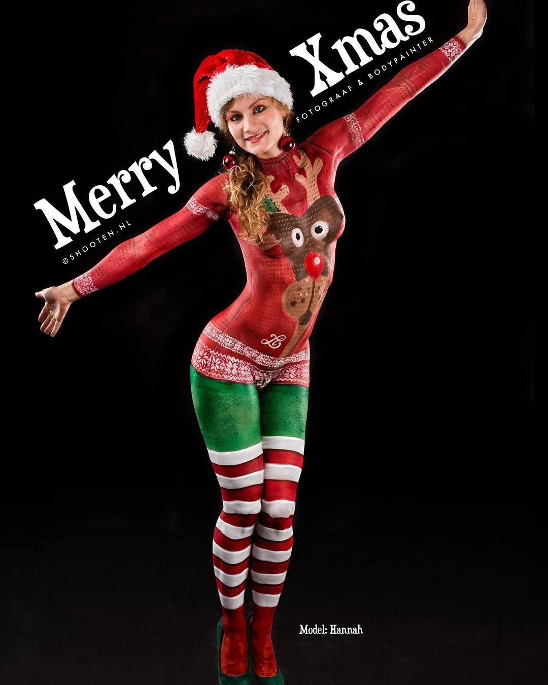 Kersttrui Utrecht.Ugly Xmas Sweater Bodypainting Model Hannah Bodypainting Photo