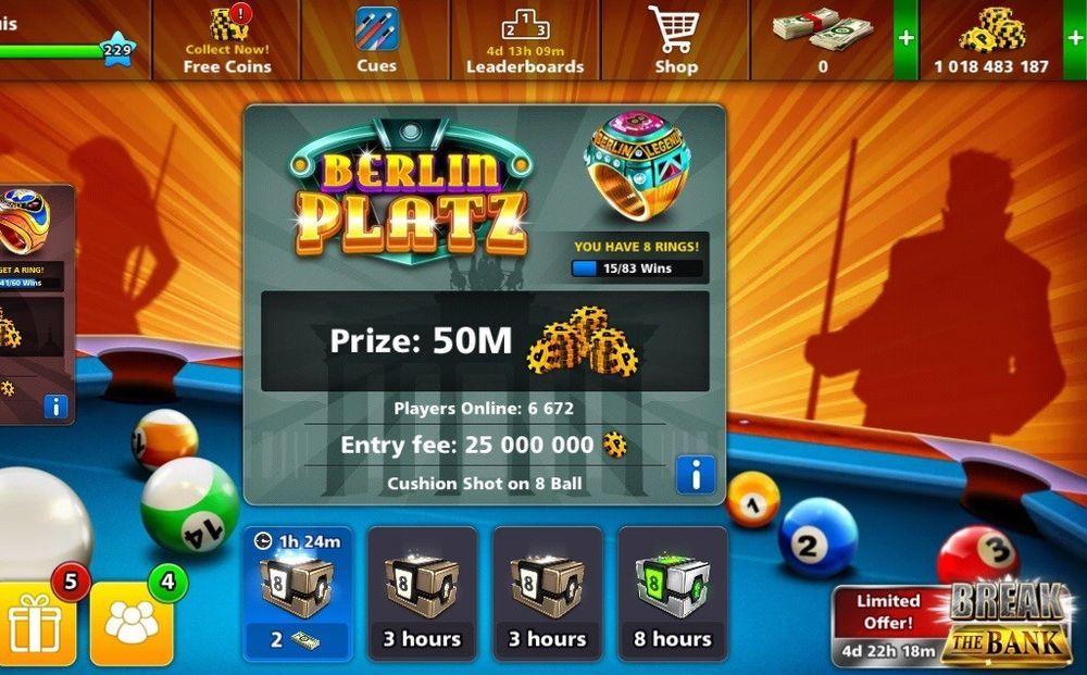 1bill + 8 Ball Pool Coins account login bonus instant ... -