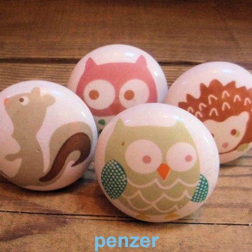 Lovely ceramic woodland door knobs childrens furniture drawer