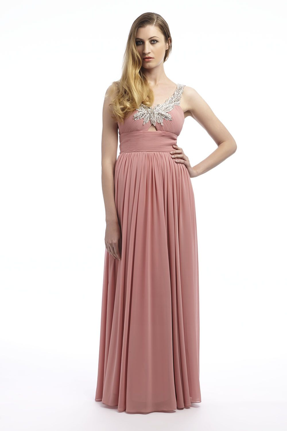 Chiffon maxi dress in dusky pink with silver strap detailing as