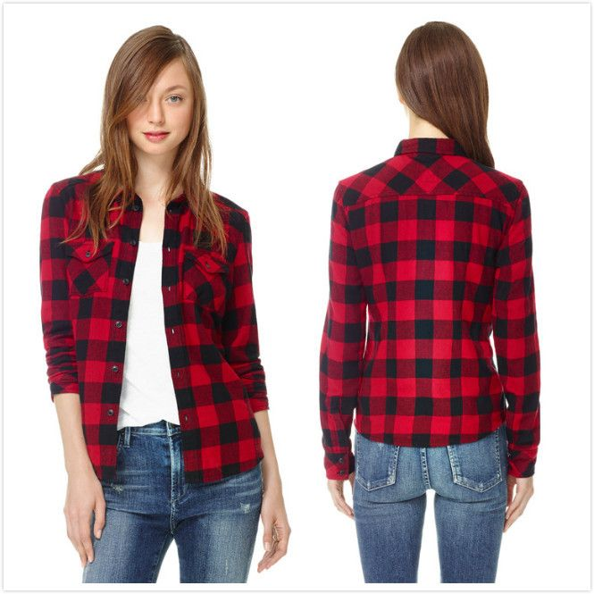 Spring autumn 2014 flannel long sleeve lapel collar red Womens red plaid shirts blouses