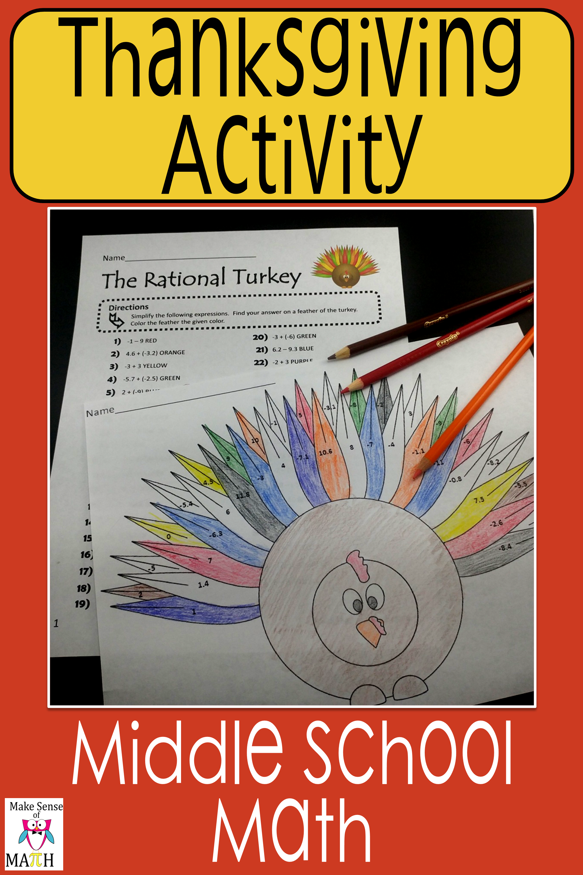 hight resolution of Fun Thanksgiving math activity for your middle school math classroom.  Students will practice a…   Rational numbers