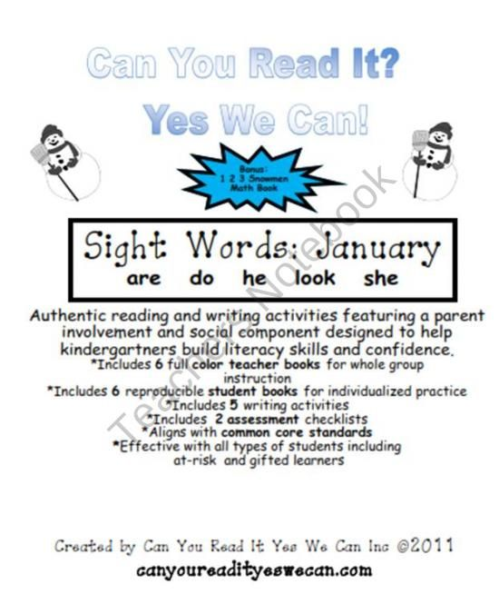 January Sight Words Emergent Readers Product From CanYouRead