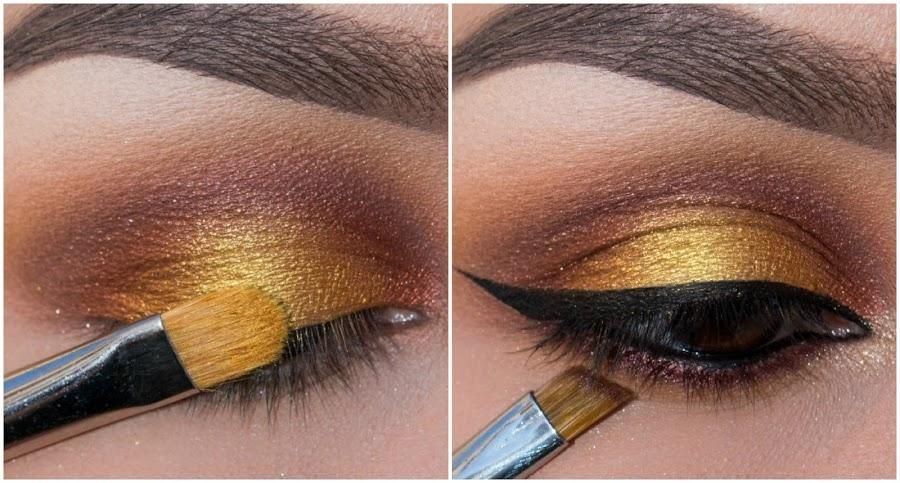 Maquillaje para pieles morenas ojos ahumados con amarillo Belleza