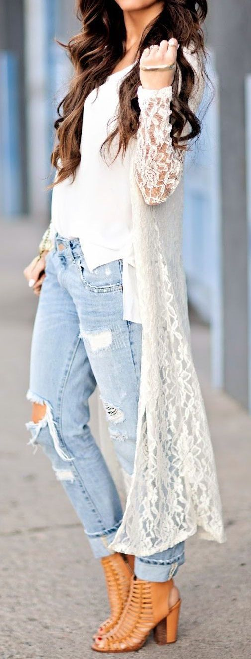 White Lace Maxi Cardigan - love it!