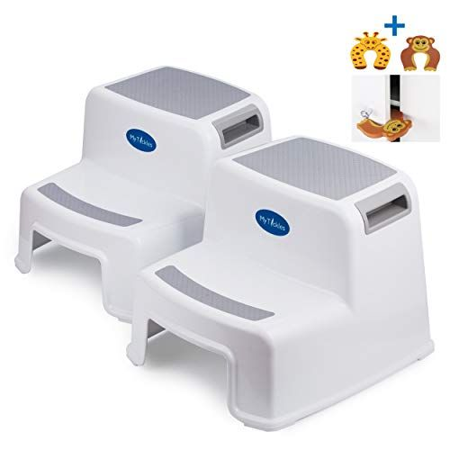2 Pack 2 Step Stool For Kids With 2 Free Finger Pinch