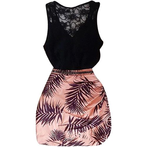 Women Summer Fashion Crochet Lace Sleeveless Tank Top Pencil Short Skirt Suit. Starting at $1