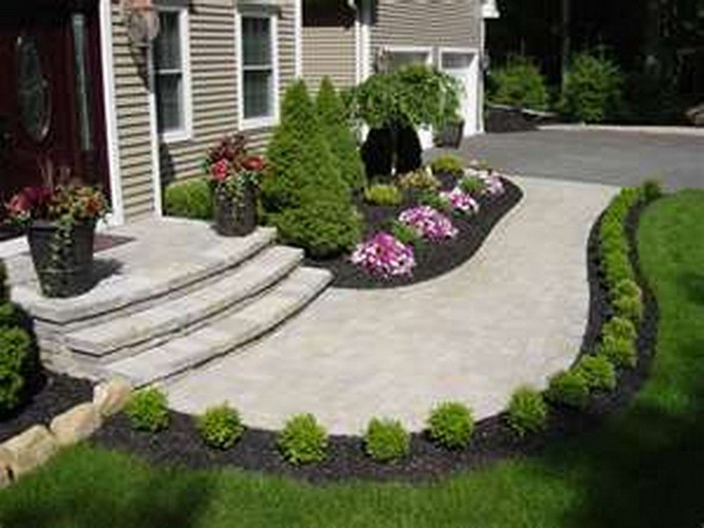 130 simple fresh and beautiful front yard landscaping for Simple front landscape ideas