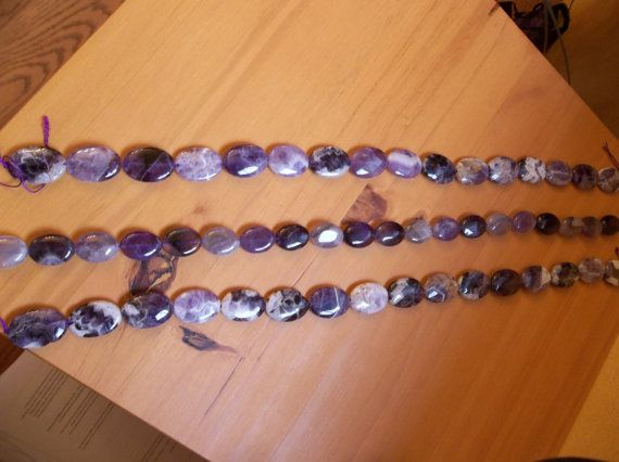 Amethyst Beads Natural Cape Chevron Ovals