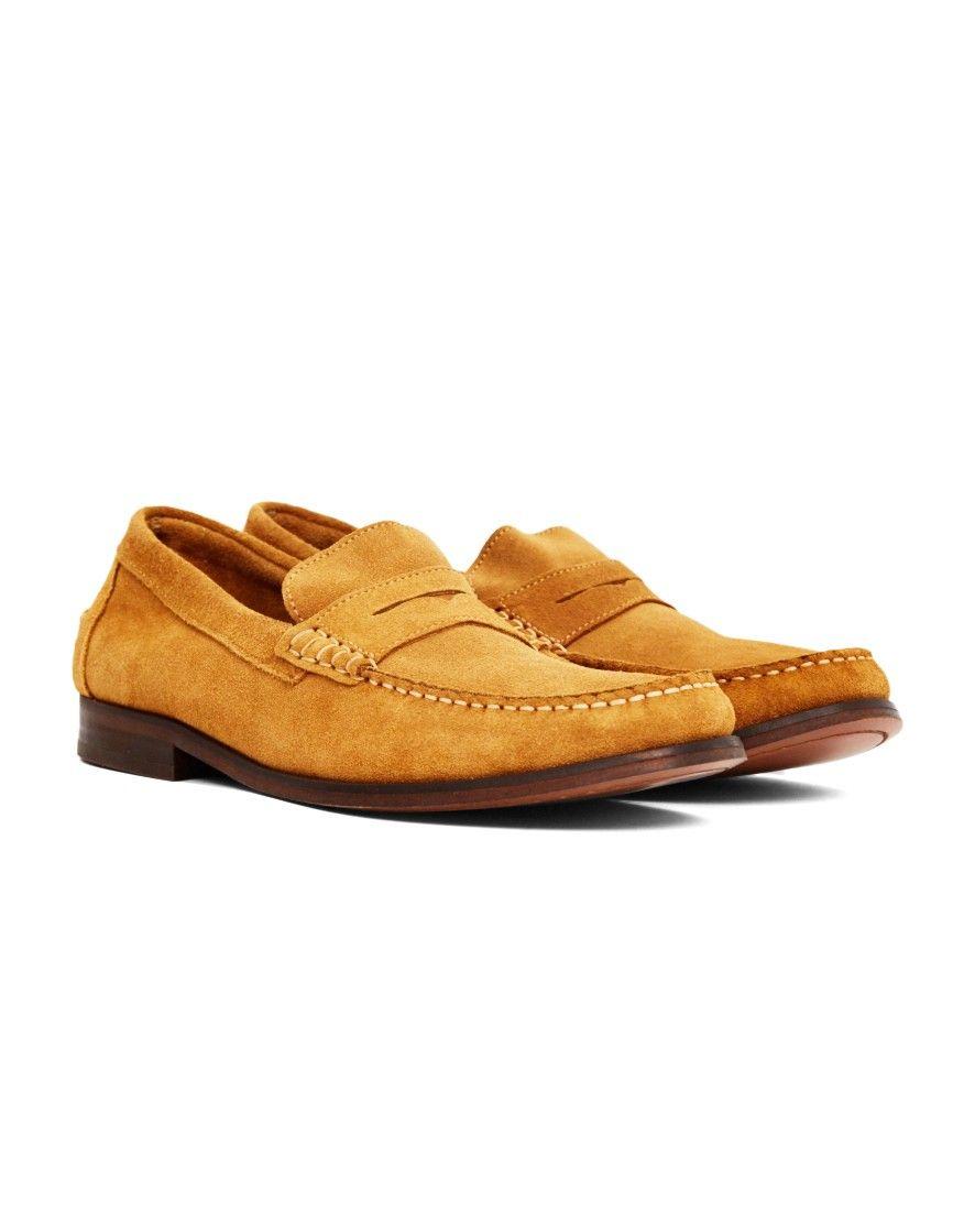 e961201546da hudson brown suede penny loafers mens
