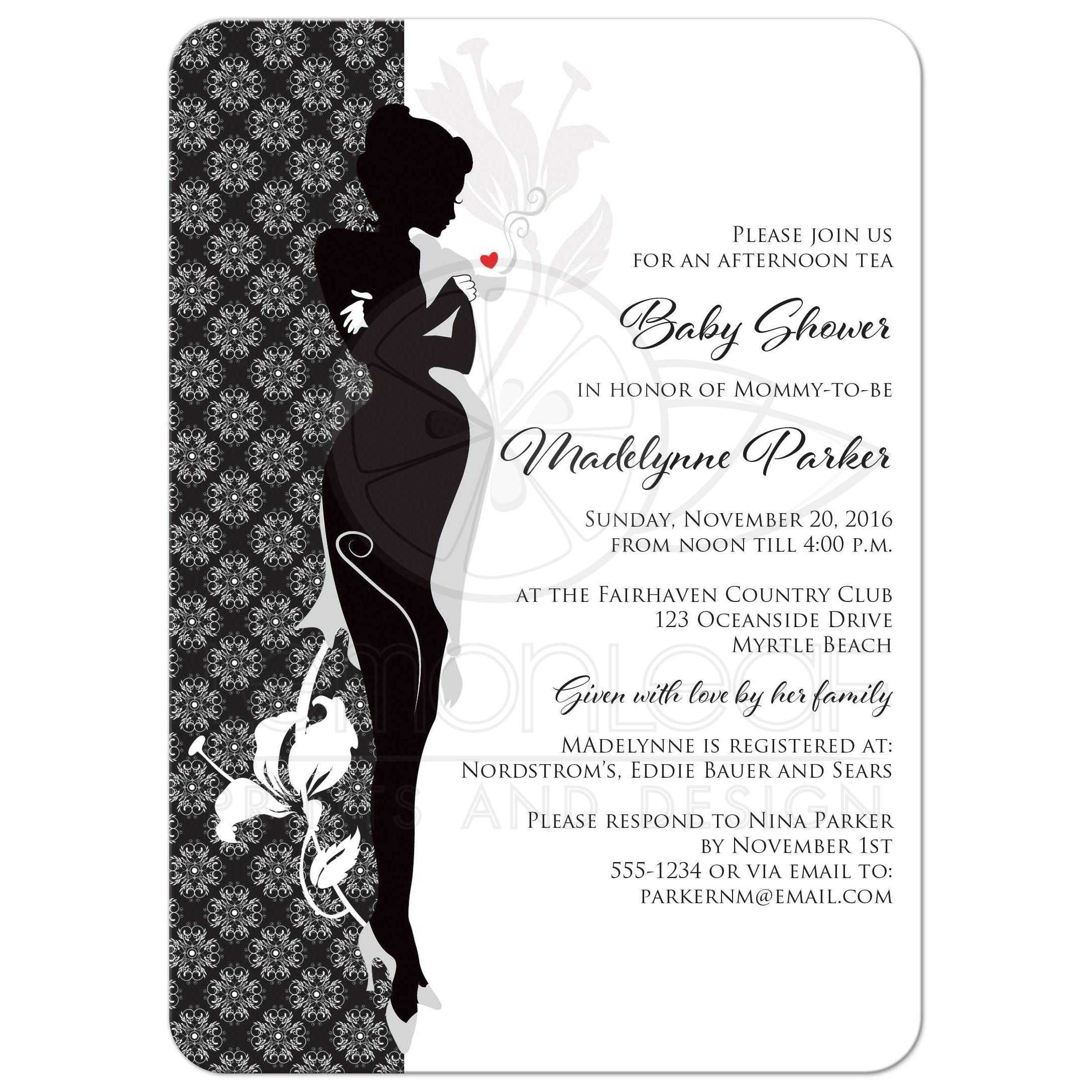 Baby Shower Tea Invitation | Black, Gray and White Sophisticated ...