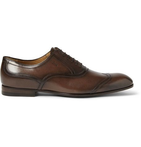 8461d6c173d Gucci Burnished Leather Wingtip Oxford Shoes