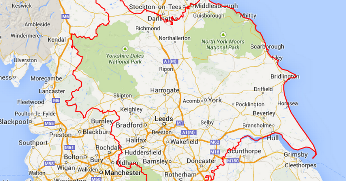 Map Of England Google Maps.Yorkshire England Boundaries Highlighted From Google Maps