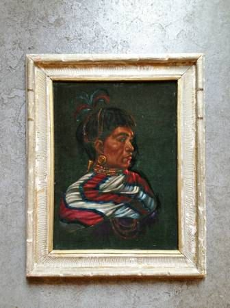 vintage velvet painting in large plaster frame. retro home decor & art.   ReRunRoom   $78.00