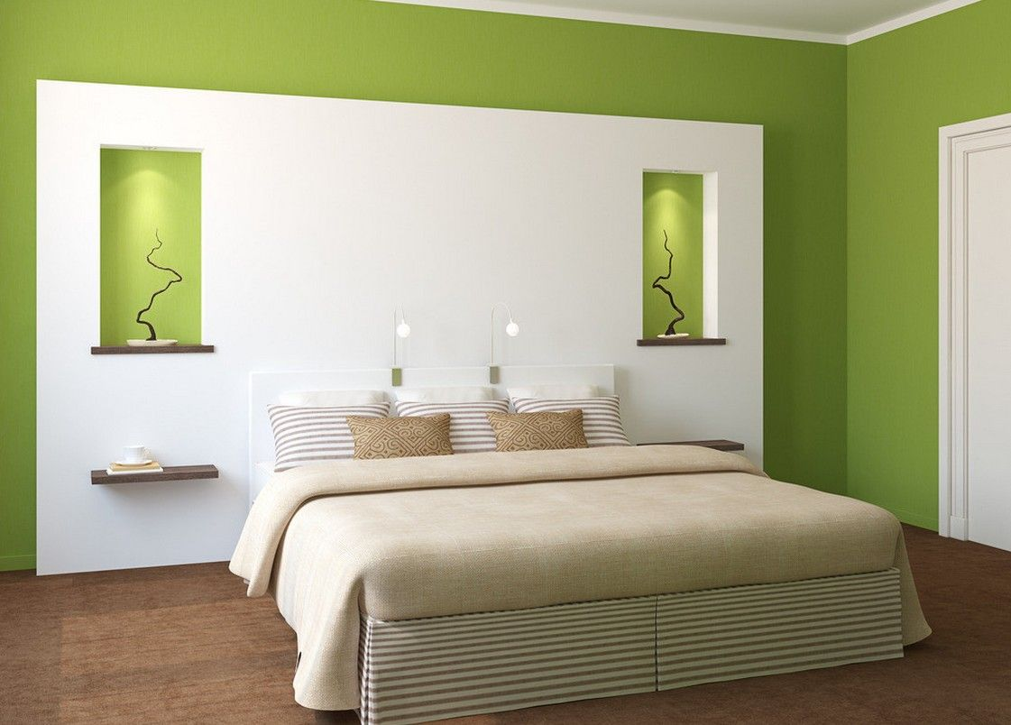 White and green bedroom - Bedrooms