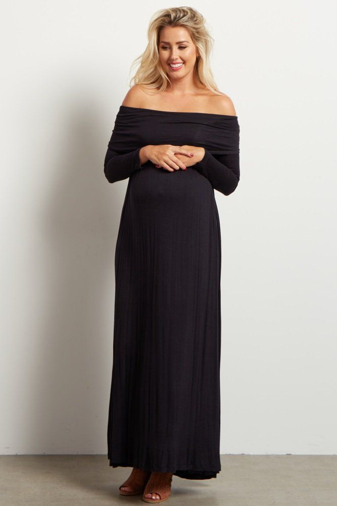 37151992b33dc Black Cowl Neck Long Sleeve Maternity Maxi Dress | Retail Therapy ...