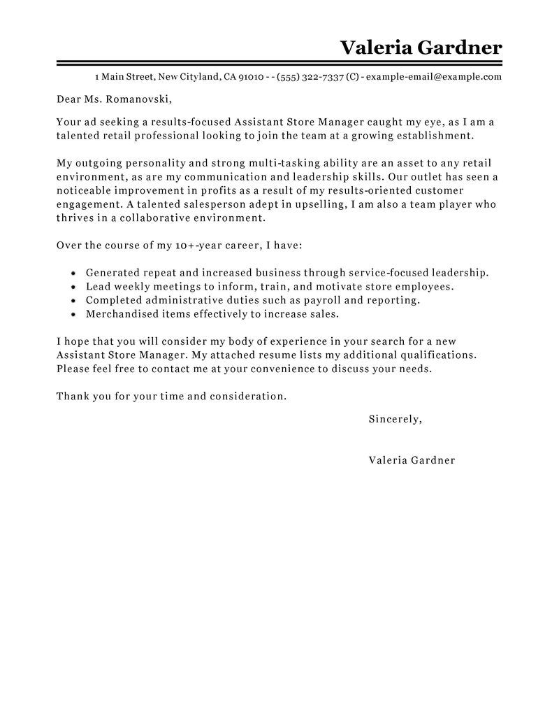 Assistant Store Manager Cover Letter Sample | Project ...