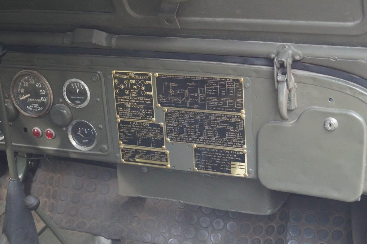 1952 Willys M38 Jeep Data Plates Detail Estante