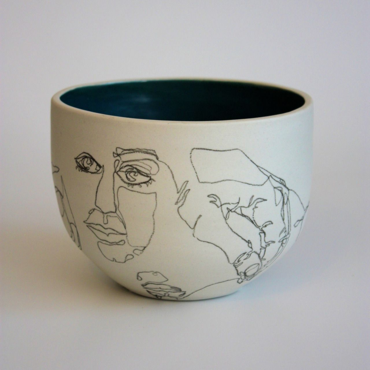 New ceramic work porcelain underglaze pencil glazed interior