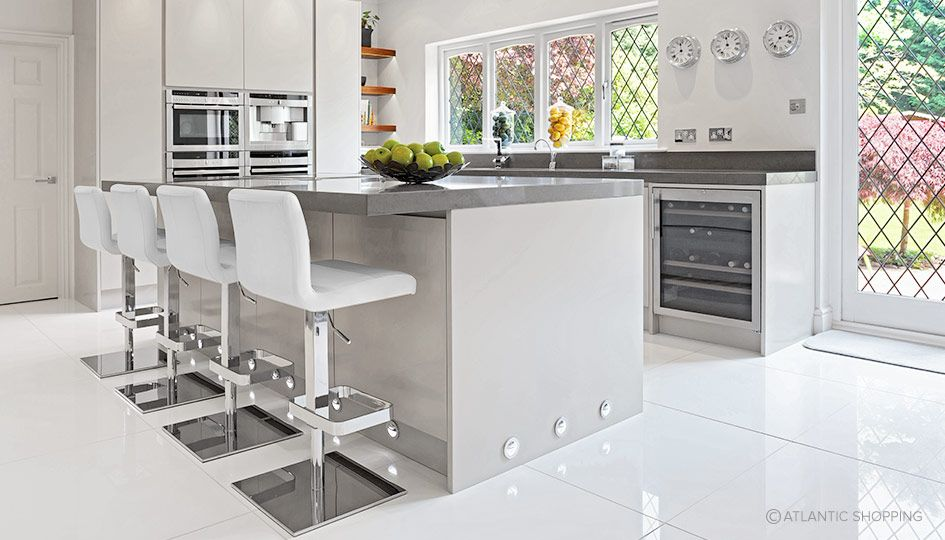 modern kitchen with devalo white leather bar stools, £139.50. what