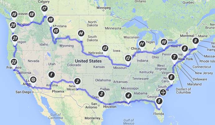 Cross Country Motorcycle Road Trip Long Way Round Trip - Interactive Motorcycle Map Of The Us