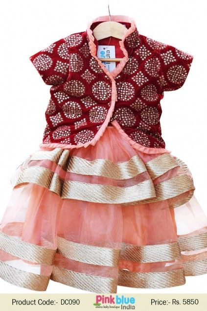Ethnic Red Velvet Jacket With 2 Layer Peach Frock For Children