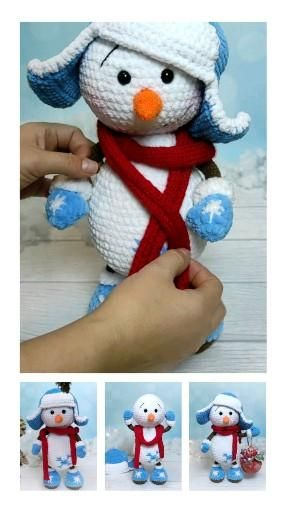 Crochet PATTERN Snowman / Christmas snowman pattern. PATTERN in English, Spanish and Russian Crochet PATTERN Snowman. Crochet pattern in English The full crochet pattern consists of 17 pages of the detailed, step-by-step description in the pdf format. It contains more than 44 high-quality photos. The size of finished toy is 12,6 ins (32 cm) without hat. Skill level - intermediate.