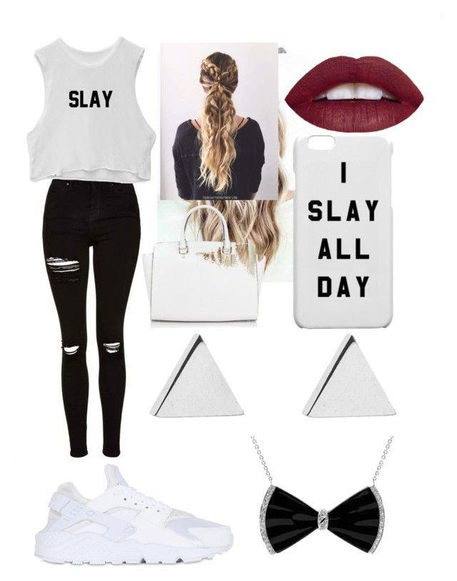 """""""I Slay😎😘😍👊"""" by ajrsmith ❤ liked on Polyvore featuring French Connection, Topshop, NIKE, L.A. Girl, Michael Kors and Jennifer Meyer Jewelry"""