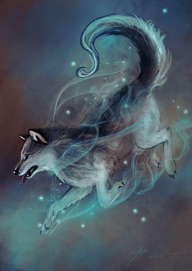 Magical animals Wolves Light Blue Glance Snout Fantasy | Fantasy ...