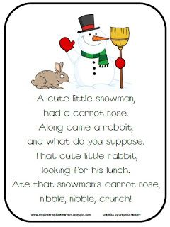 Snowman Poem Freebie! | Search, Teaching and For kids