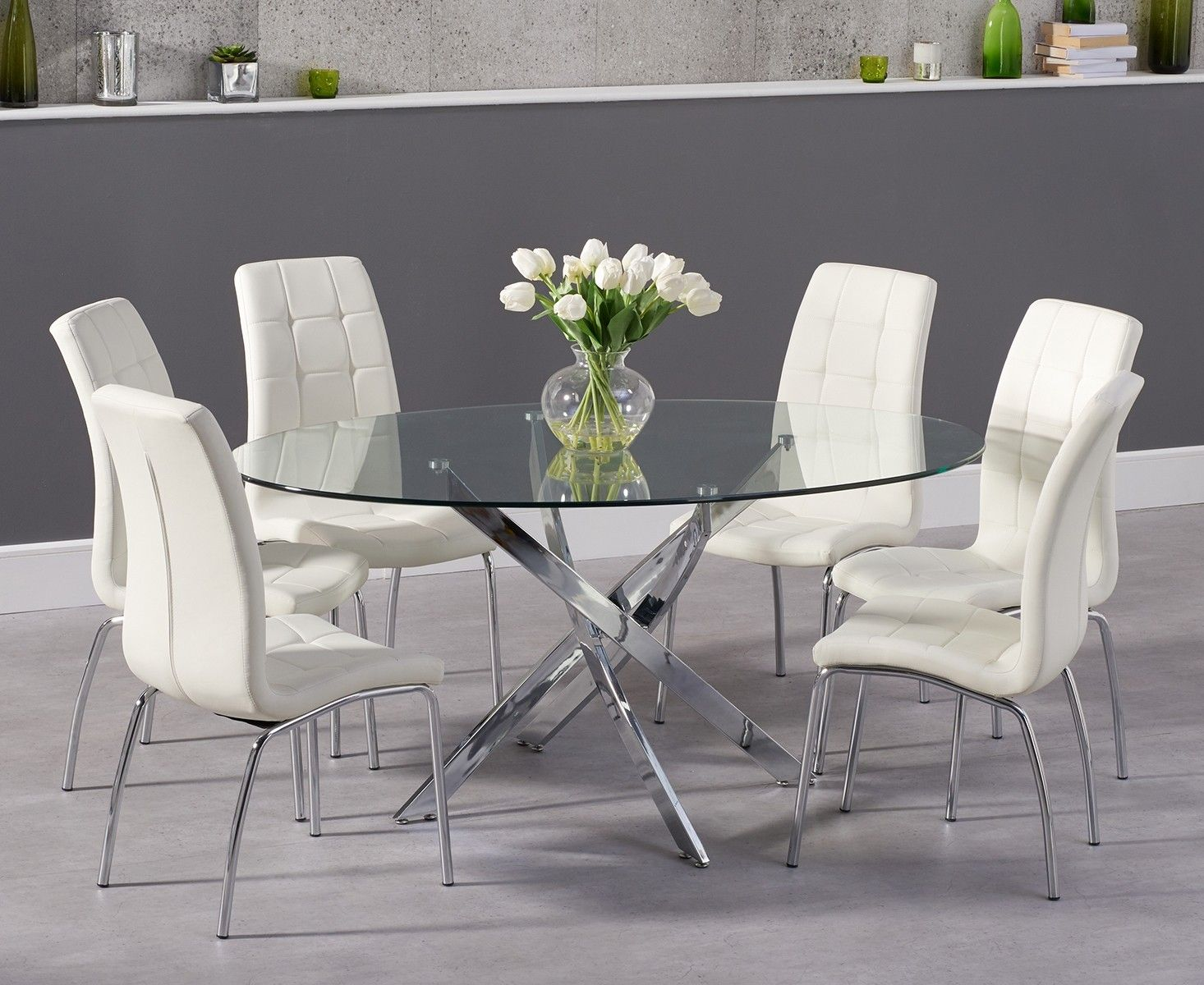 Denver 165cm Oval Glass Dining Table With Calgary Chairs Oval