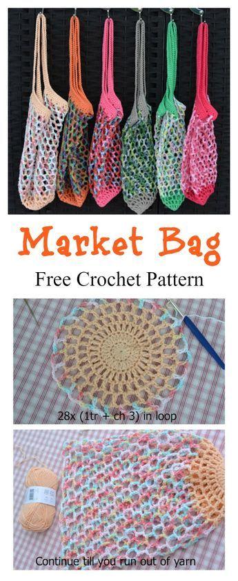 French Market Mesh Bag Free Crochet Pattern #crochethandbags