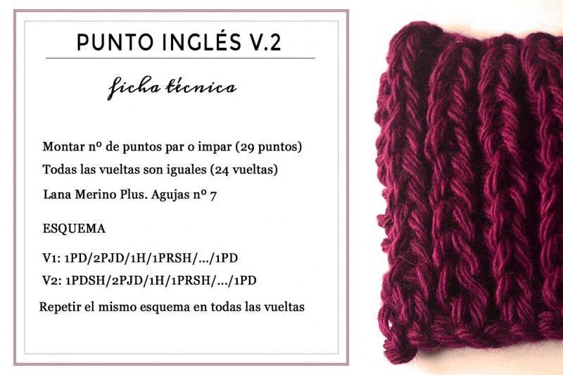 Ficha técnica para tejer Punto Inglés, versión 2   Tricot puntadas ...
