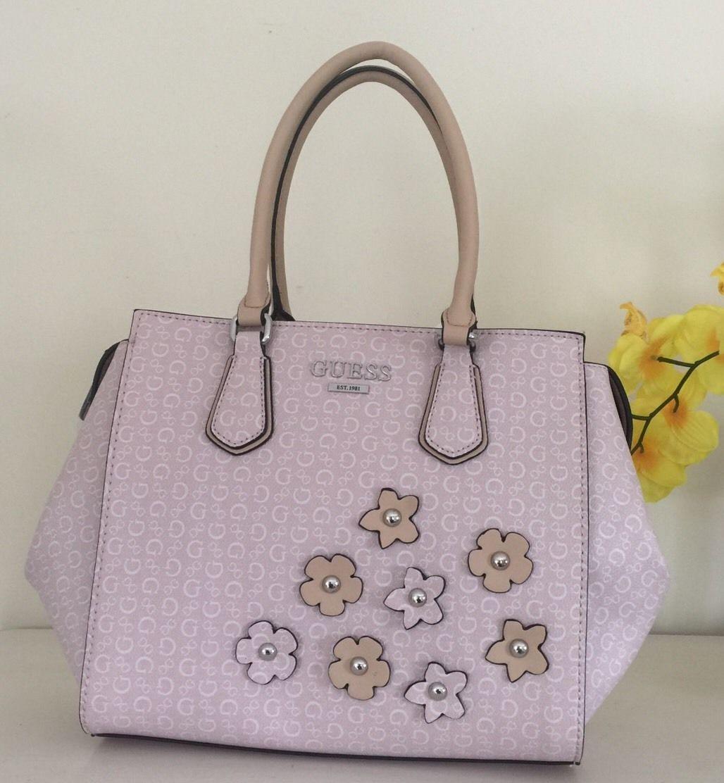 33518b15ab19 NWT Guess Signature Handbag Pink Blush Society Purse Bag Floral Satchel  BB661506