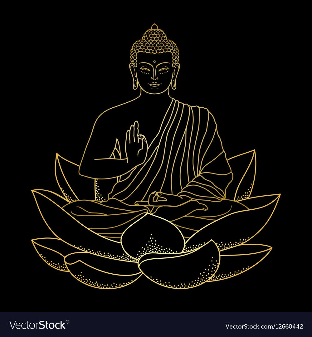 Gold Buddha sitting on Lotus vector image on Buddha