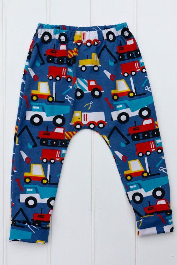906e56e12 Trucks Baby Leggings, Unisex bottoms, Boys leggings, Toddlers Builder Harem  Pants, Kids digger Jersey Pants, Children's bright leggings,