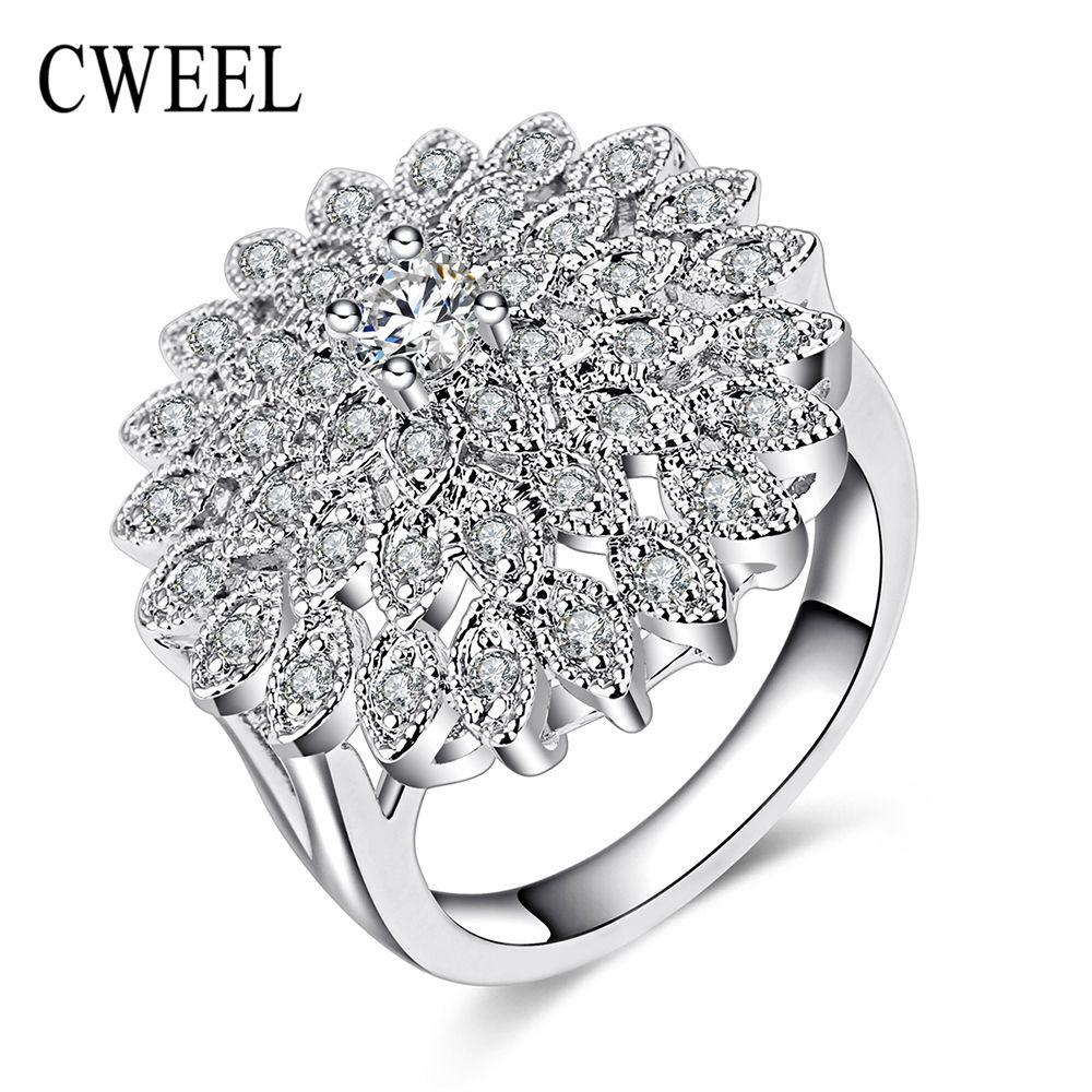 Cweel beads africani dei monili anelli di fidanzamento per le donne di nozze nastro placcato imitato cristallo regalo nuziale festa del partito anello