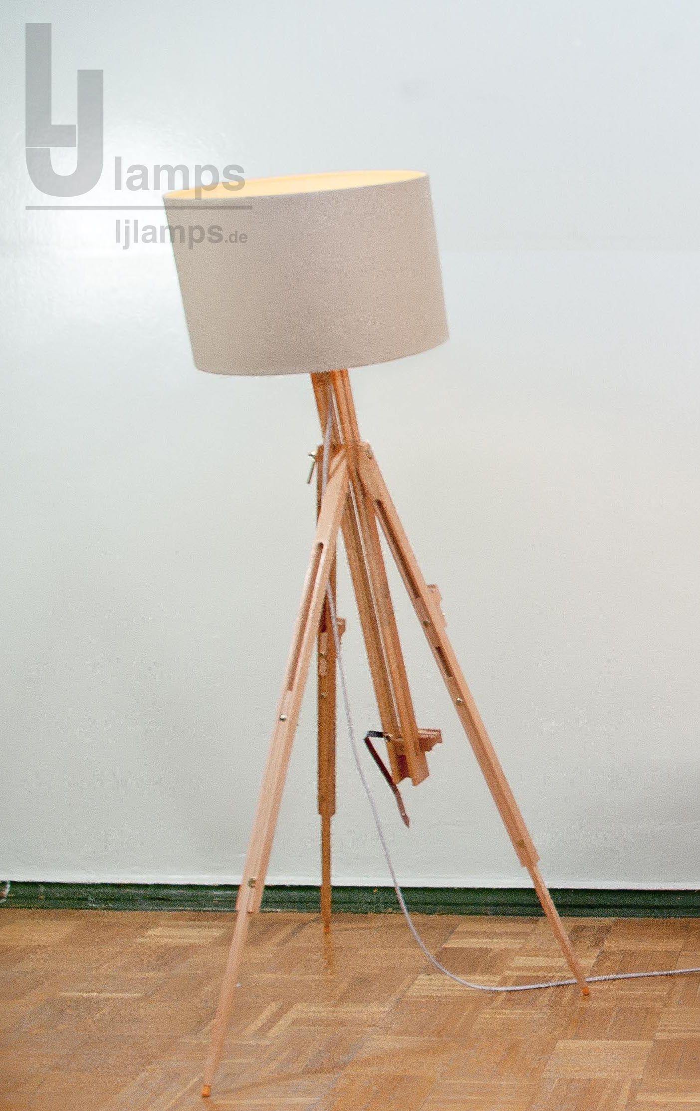 New Leuchte Gamma Tripod aus Holz Staffelei zum Einstellen Schirm aus Leinen Lampe