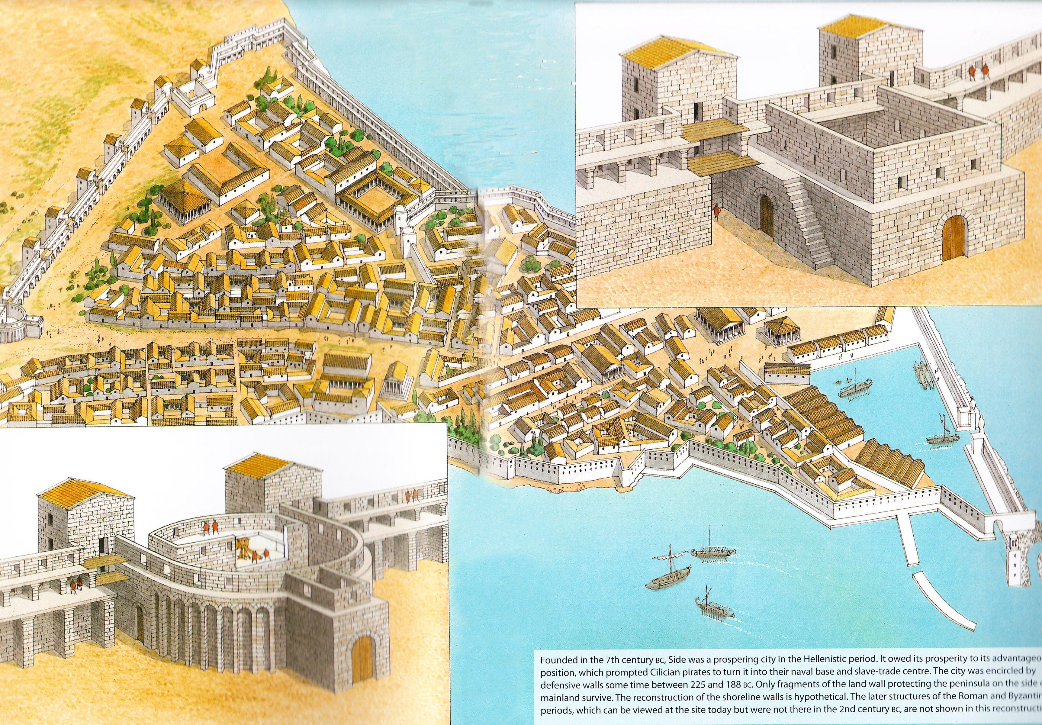 Una hipotética reconstrucción de las murallas de Side (Panfilia - Asia Menor) durante el periodo helenístico, por cortesía de Brian Delf. Más en www.elgrancapitan.org