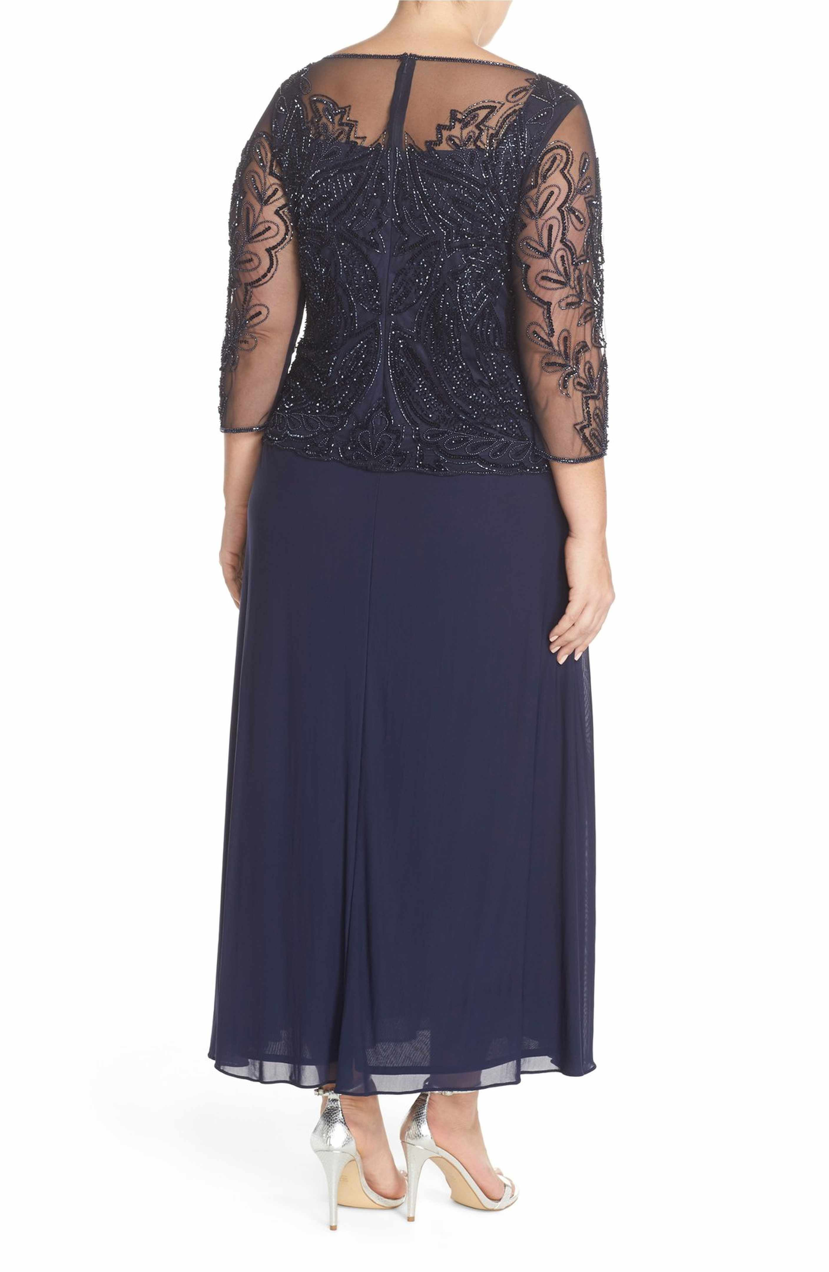 43a6865d918 Main Image - Pisarro Nights Illusion Neck Beaded A-Line Gown (Plus Size)