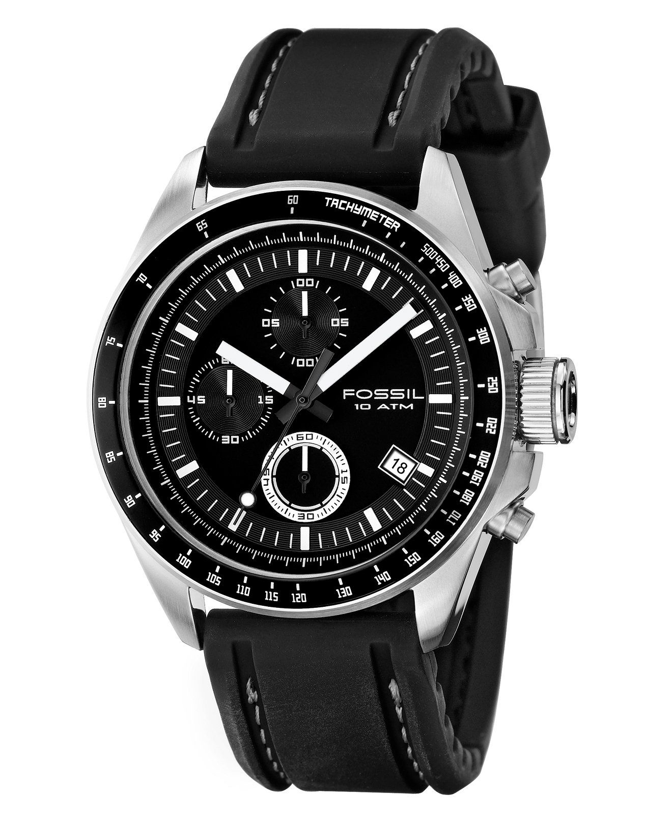 Fossil Men's Chronograph Decker Black Silicone Strap Watch 44mm CH2573 - Watches - Jewelry & Watches - Macy's