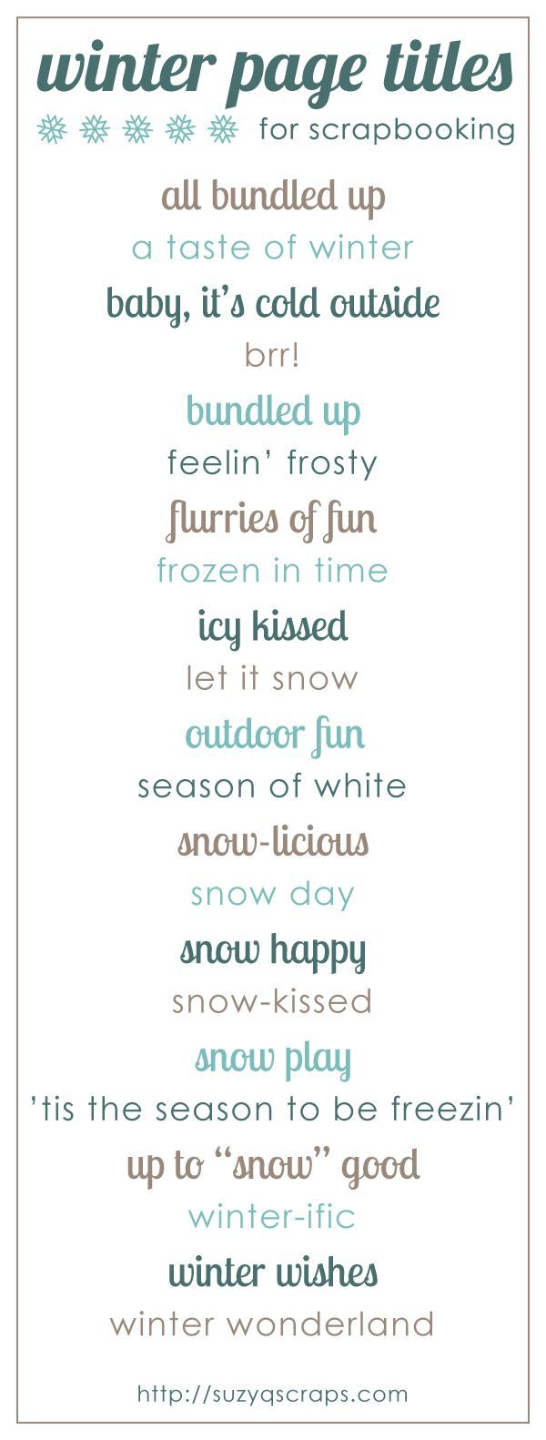 Baby scrapbook ideas quotes - Winter Scrapbook Page Titles